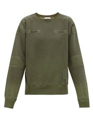 Ambush Bleach Patchworked Cotton Sweatshirt Green