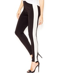 Bar Iii Contrast Faux Leather Panel Leggings Only At Macy's