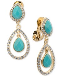 Anne Klein Gold Tone Faceted Stone And Crystal Orbital Drop Earrings Blue Green