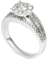 Macy's Diamond Halo Engagement Ring 1 1 10 Ct. T.W. In 14K White Gold