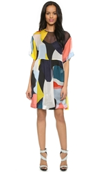 Msgm Short Sleeve Chiffon Print Dress Multi