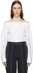 Cedric Charlier Off White Off The Shoulder Blouse