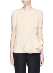 Lanvin Asymmetric Ruffle Hem Yak Wool Sweater White