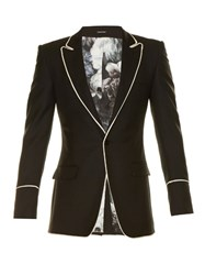 Alexander Mcqueen Contrast Piping Wool Blazer Black