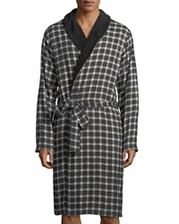 Ugg Kalib Plaid Fleece Lined Robe Black