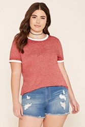 Forever 21 Plus Size Burnout Ringer Tee
