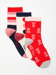 Boden Stripe And Pineapple Print Ankle Socks Pack Of 3 Happy Red Multi