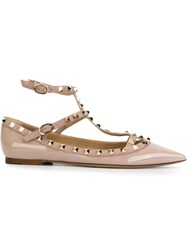 Valentino Garavani 'Rockstud' Ballerinas Pink And Purple