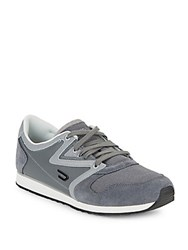 Diesel Leather Trim Lace Up Shoes Dark Grey