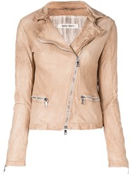 Giorgio Brato Faded Biker Jacket Nude And Neutrals