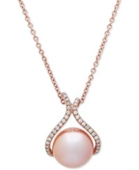 Honora Style Pink Cultured Freshwater Pearl 13 Mm And Diamond 1 4 Ct. T.W. 18 Pendant Necklace In 14K Rose Gold