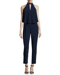 Laundry By Shelli Segal Beaded Neck Draped Jumpsuit Dark Blue
