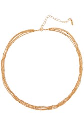 Chan Luu Gold Plated Faux Pearl Necklace One Size