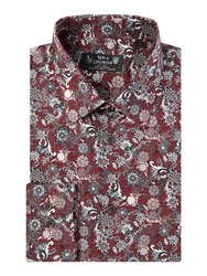 New And Lingwood Leadbury Floral Paisley Shirt Print Red
