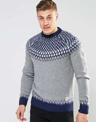 Bellfield Brushed Jacquard Knitted Jumper Grey Navy