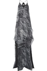 Halston Heritage Layered Metallic Printed Silk Blend Chiffon Gown Gray