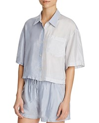 T By Alexander Wang Striped Button Down Shirt Navy Ivory
