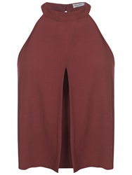 Miss Selfridge Halter Crop Shell Top Burgundy