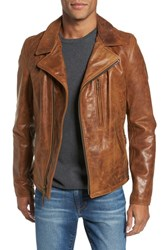 Schott Nyc Men's Asymmetrical Waxy Leather Jacket Sycamore