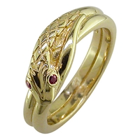London Road 9Ct Yellow Gold Ruby Serpent Ring N