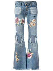 One Teaspoon Distressed Orchid Print Flared Jeans Blue