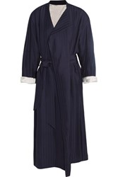 Acne Studios Oceane Belted Striped Twill Coat Midnight Blue