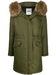 Yves Salomon Faux Fur Trim Parka Coat Green