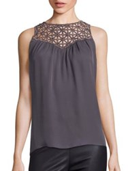 Ramy Brook Delphine Embellished Silk Tank Top Gunmetal