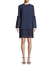 Michael Michael Kors Bell Sleeve Dress With Scalloped Lace True Navy