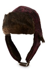 True Religion Men's Brand Jeans Velour Trapper Hat With Faux Fur Trim