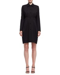 Lanvin Long Sleeve Wool Cape Back Dress Black