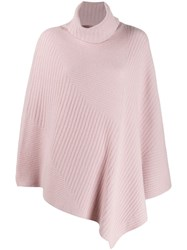 Pringle Of Scotland Short Length Ribbed Poncho Pink