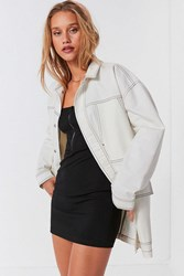 Urban Outfitters Uo Contrast Stitch Workwear Jacket White