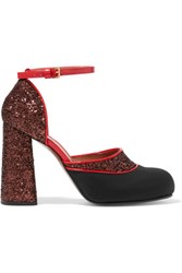Marni Glittered Twill And Patent Leather Mary Jane Pumps