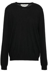 Red Valentino Redvalentino Woman Point D'esprit Paneled Cashmere And Silk Blend Sweater Black