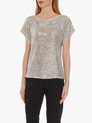 Gina Bacconi Lupe Stretch Sequin Top Silver