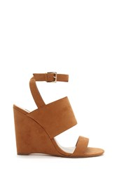 Forever 21 Faux Suede Wedge Sandals Tan