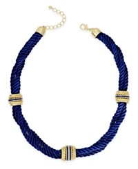 Charter Club Gold Tone Blue Rope Statement Necklace Only At Macy's
