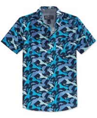 American Rag Men's Tweet Flamingo Print Short Sleeve Shirt Only At Macy's Basic Navy