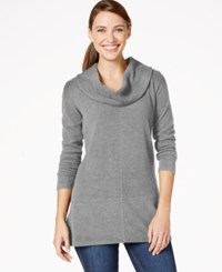 Styleandco. Style And Co. Cowl Neck Handkerchief Hem Top Only At Macy's Medium Grey Heather