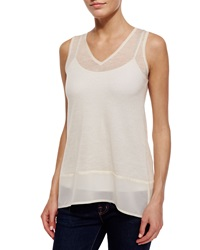 Design History Chiffon Trim V Neck Tank Soft Oat