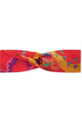 Etro Knotted Printed Silk Satin Headband Red
