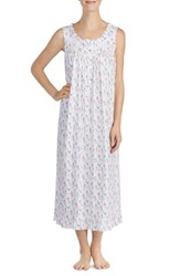 Eileen West Long Nightgown White Grnd Multi Fall Floral