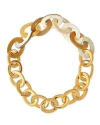 18K Yellow Gold And Natural Horn Link Necklace Maiyet
