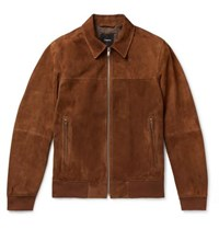 Theory Noland Slim Fit Suede Jacket Brown