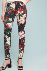 Anthropologie 7 For All Mankind Floral Low Rise Skinny Jeans Red Motif