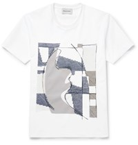 Solid Homme Embroidered Printed Cotton Jersey T Shirt White