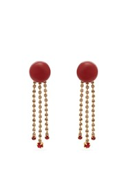 Marni Crystal Embellished Resin Earrings Red