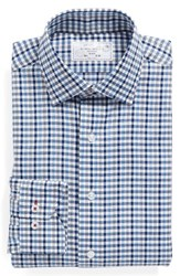 Lorenzo Uomo Men's Big And Tall Trim Fit Check Dress Shirt Dark Blue