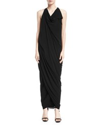 Urban Zen Convertible Draped Jersey Maxi Dress Black